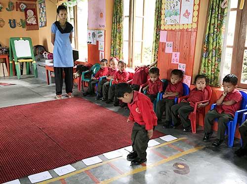 Manta teaching at Samthar School